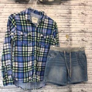 yxl plaid flannel, y12 shorts
